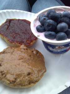 Vanilla Almond Butter And Cherry Butter On An English Muffin, Strawberry Brown Cow Greek Yogurt With Blueberries