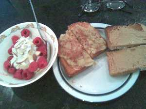 Vanilla Chobani With Raspberries And Almonds, Toast With PB And Banana