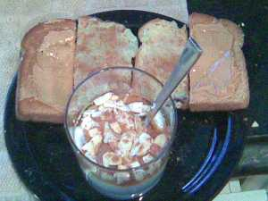 Toast With SB PB And Banana Spread With Cinnamon, Plain Yogurt With Maple Syrup And Almond Slices