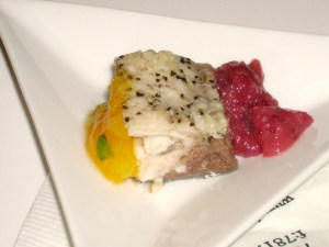 Sustainable Mahi Mahi With Preserve Peach Chutney And Local Cranberry And Apple Compote