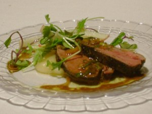 Dark Roast Coffee Marinated Duck  With Parsnip Puree And Vanilla Chimichurri