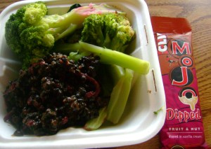 Black Lentils And Beets In Snobby Sauce, Broccoli Spears, Clifi Fruit And Nut Mojo Dipped