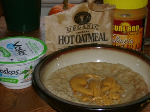 Vanilla Bean Voskos Organic Yogurt, Nature's Path Organic Hot Oatmeal, Sunland All Natural Valencia Peanut Butter