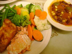 Salmon, Sweet Potato, Green Beans, Steamed Vegetables, Vegan Chili