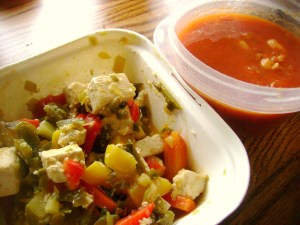Stir Fry Tofu And Vegetables, Tomato And Cannelli Bean Soup