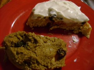 Whole Wheat Cinnamon Raisin Roll With Pepita Sun Butter And Vanilla Cream Cheese Frosting