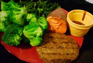Broccoli, Sweet Potato, Flamegrilled Gardenburger, Sauteed Spinach, Steak Sauce