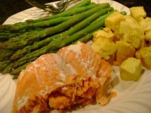 Salmon, Asparagus, Maple Mustard Tofu