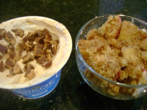 Vegan Apple Crisp, Peanut Butter Oikos With Milk Chocolate PB Cup