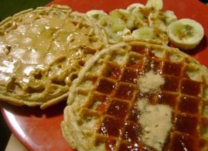 Kashi Strawberry Flax Waffles With Smart Balance, Strawberry Jam, And Microwave Bruleed Bananas