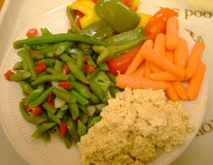 The Heat Is On Tofu Salad, Baby Carrots, Stir Fried Peppers, Oregon Style Beans
