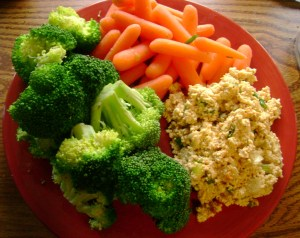 Broccoli, Carrots, Tofu Salad With The Heat Is On Peanut Butter