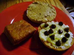Fig And Almond Blondie, English Muffin With Banana And Chocolate And Cinnamon Vanilla Sunflower Butter