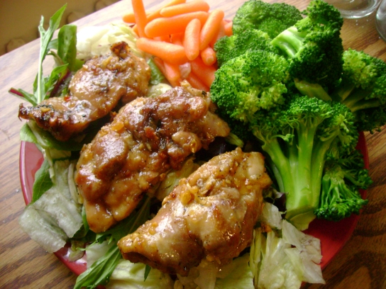 Honey Garlic Chicken Salad, Steamed Broccoli, Baby Carrots