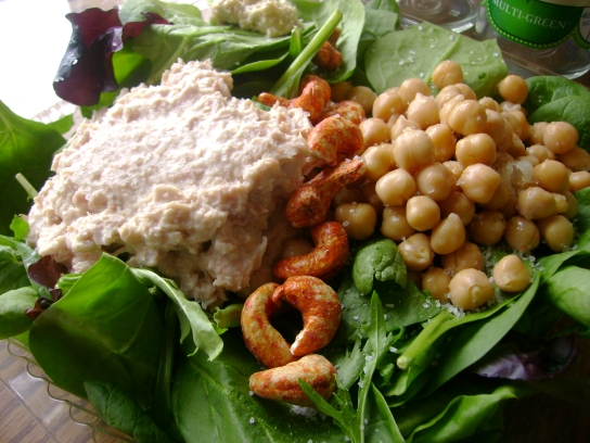 Tuna Salad, Chickpeas, yumnuts Chili Lime Cashews