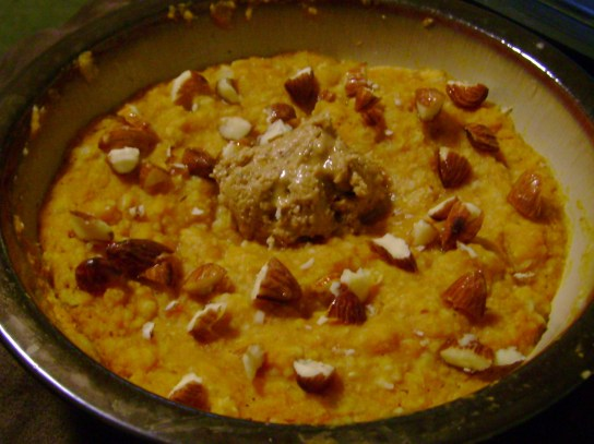 Pumpkin Oatmeal With Butter Toffee Peanut Butter And French Toast Almonds