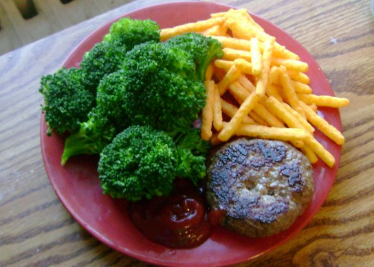 Grass-Fed Burger, Broccoli, Baked Cheddar Cheese Fries