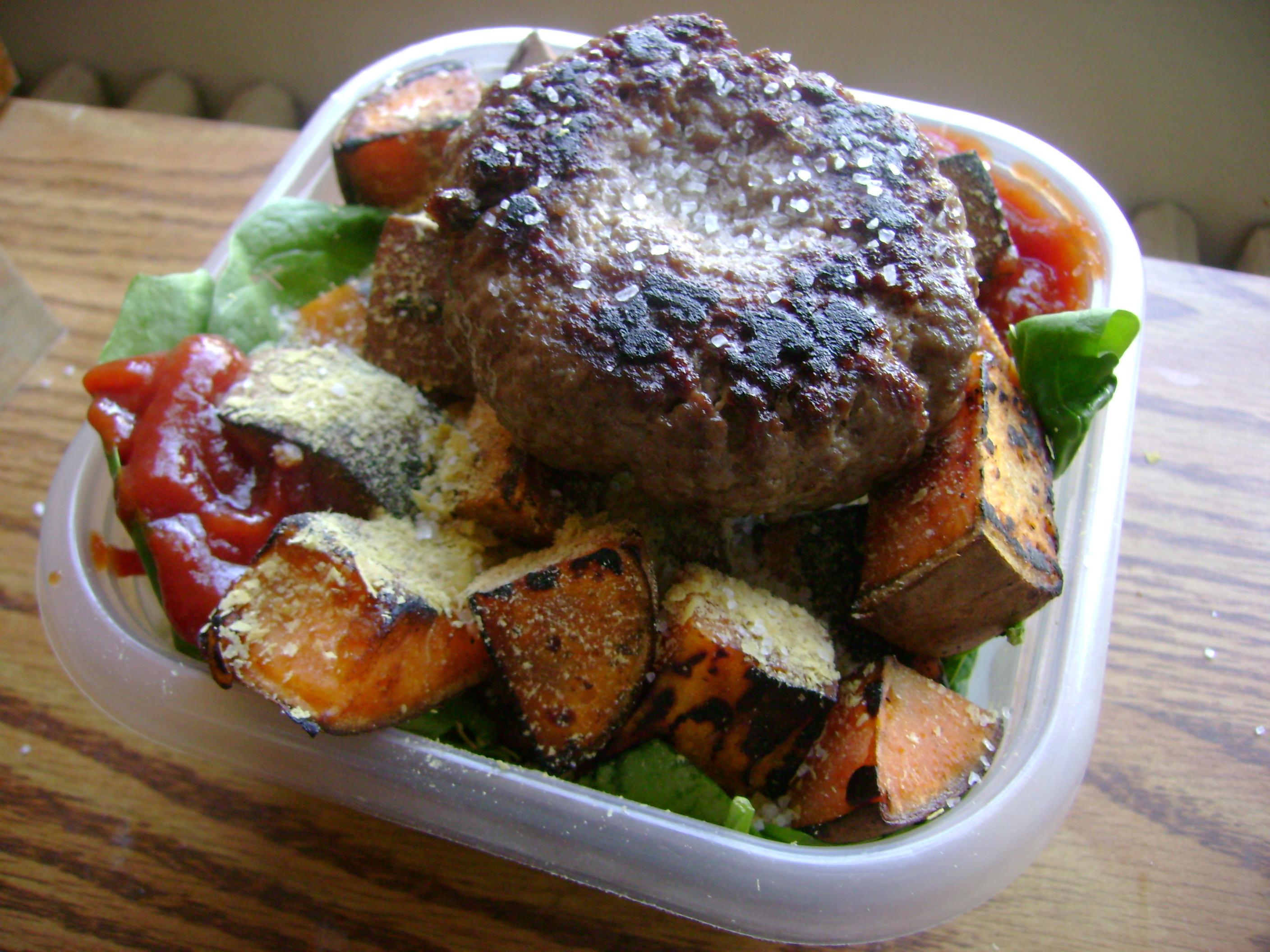 Burger Bowl With Spinach, Sweet Potatoes, And Nutritional Yeast