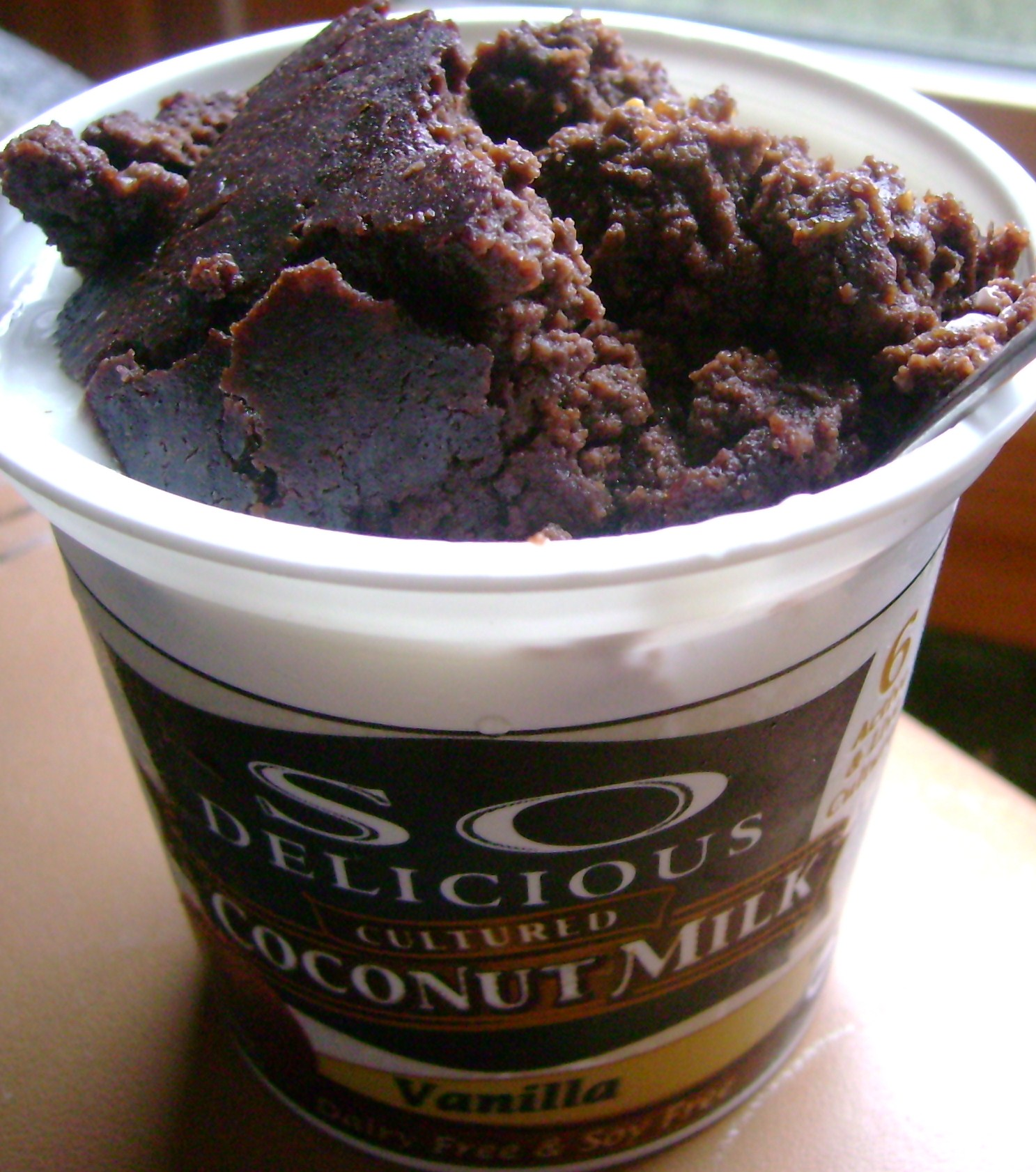 Coconut Milk Vanilla Yogurt With Gluten-Free Chocolate Peanut Butter Brownie