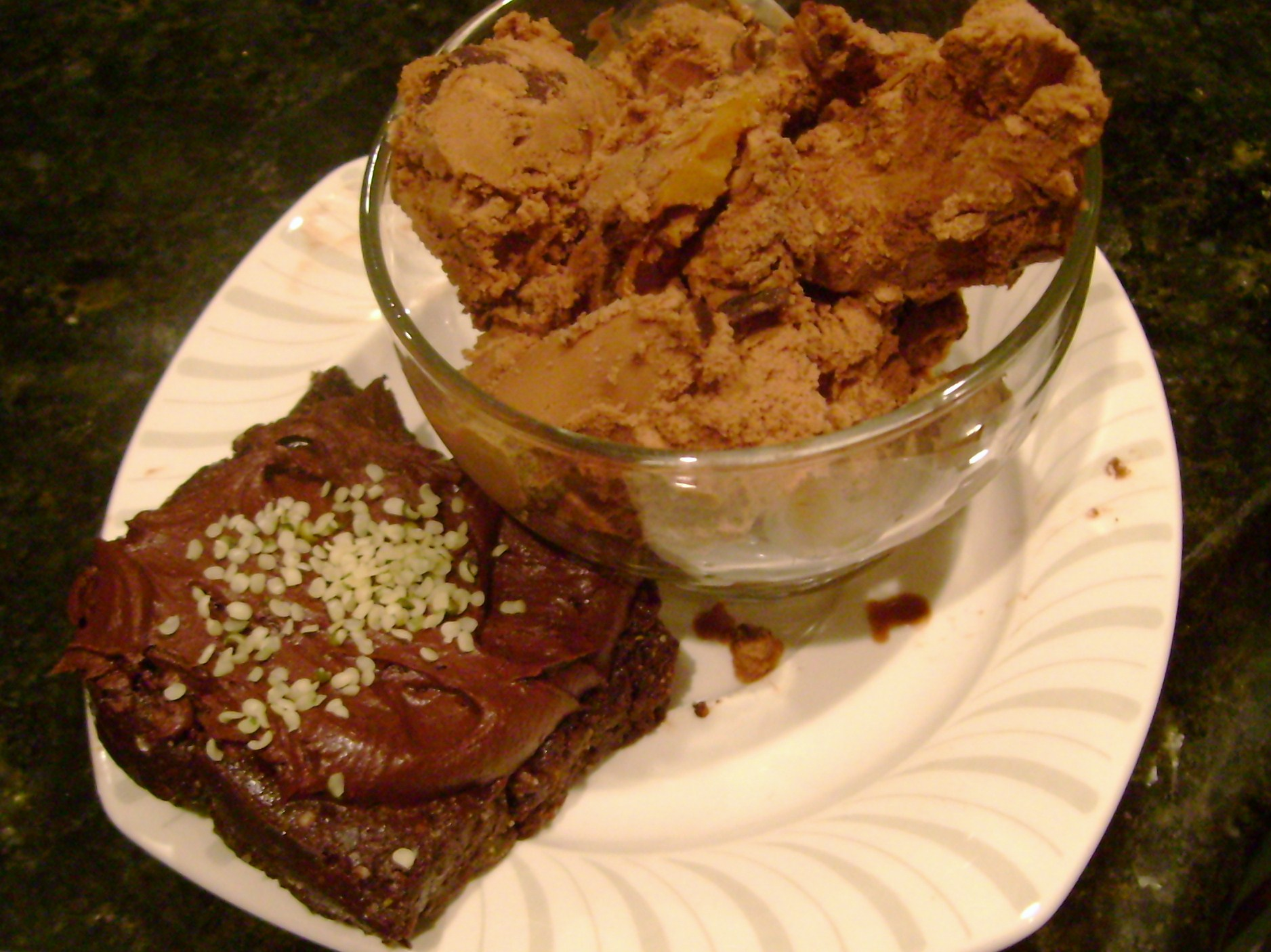 Raw Vegan Brownie With Raw Chocolate Frosting, So Delicious Chocolate Peanut Butter Swirl Coconut Milk Ice Cream