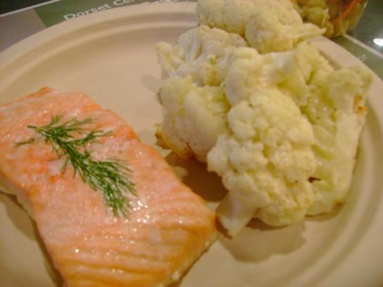 Dill Salmon, Parmesan Cauliflower