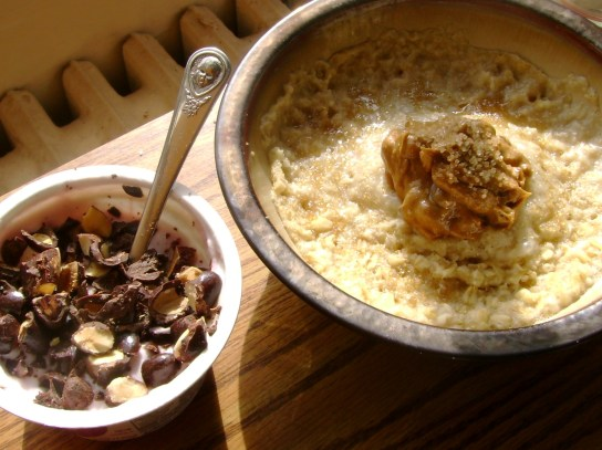 Pomegranate Chobani With Dark Chocolate Almonds, Oatmeal With Cinnamon Raisin PB And Turbinado Sugar