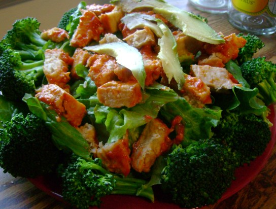 Faux Buffalo Chicken Salad With Steamed Broccoli And Avocado