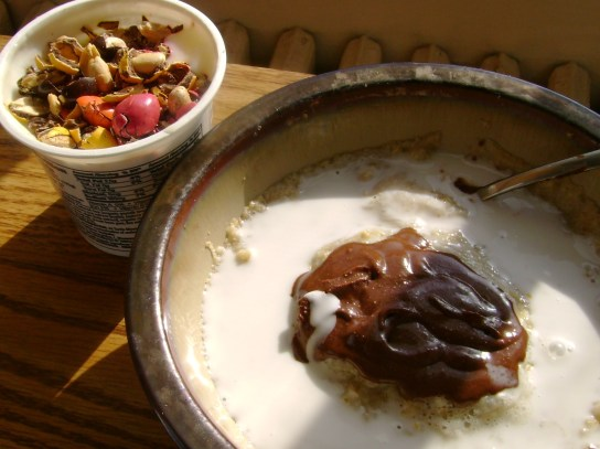 Oatmeal With Chocolate Hazelnut Butter And Coconut Milk, Soy Yogurt With Sunspire Milk Chocolate Peanuts