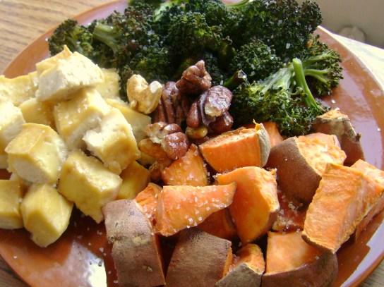Maple Baked Tofu, Roasted Broccoli And Sweet Potatos, Maple Glazed Nuts