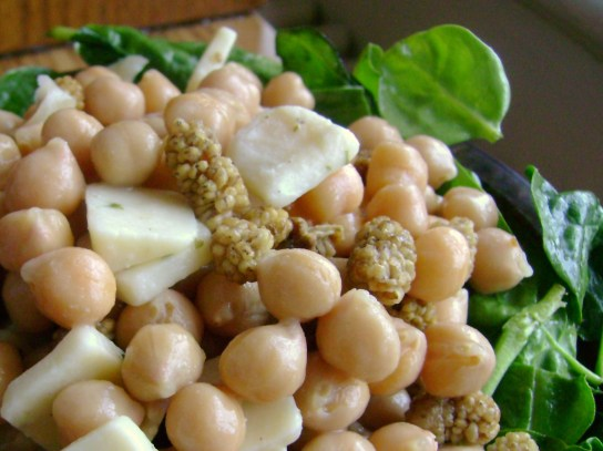 Chickpea Salad With Cheddar, Mulberries, And Hemp Oil Dressing