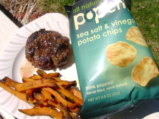 Grass-Fed Burger, Indian Fries, Sea Salt & Vinegar Pop Chips
