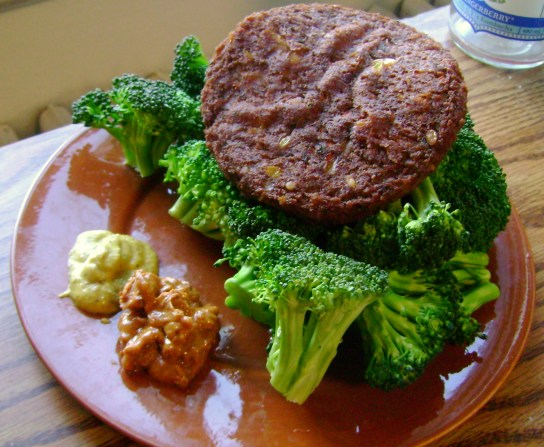 Wildwood Southwest Veggie Burger, Broccoli, The Heat Is On PB, Mustard