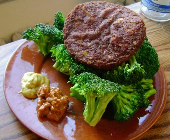 Wildwood Southwest Veggie Burger, Broccoli, The Heat Is On PB, Mustard