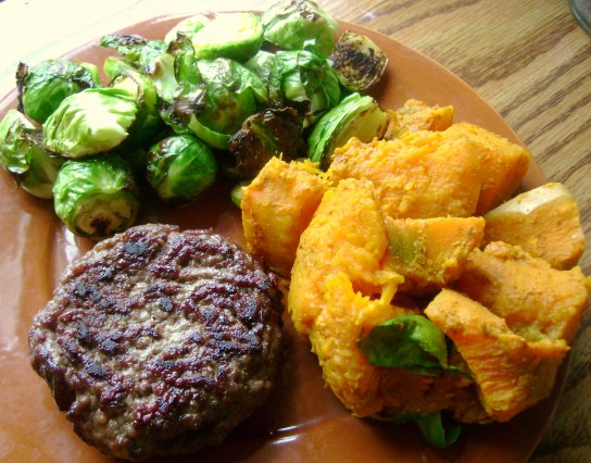 Grass-Fed Burger, Crispy Brussels Sprouts, Seasoned Butternut Squash