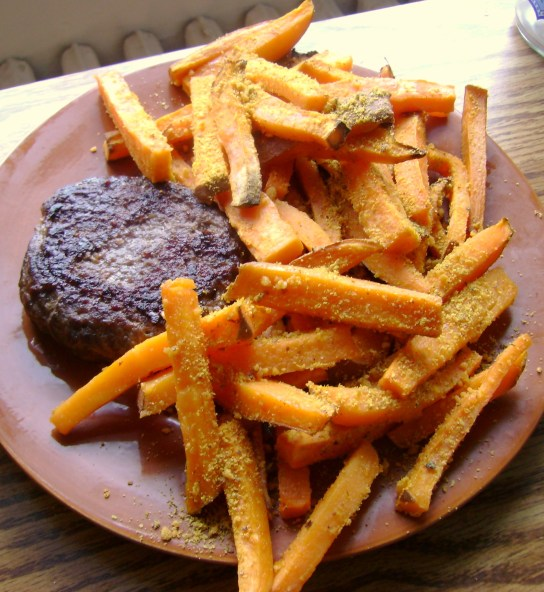 Burger, Vegan Cayenne Cheddar Fries,