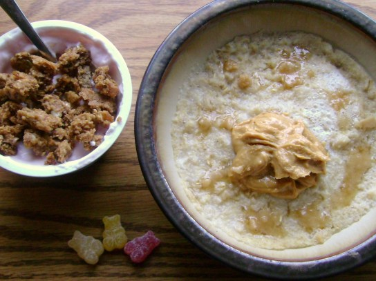 Pomegranate Yogurt With Apple Ginger Granola, Oatmeal With Mighty Maple And Maple Butter
