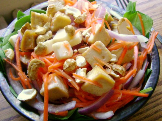 Maple Salad With Tofu, Cashews, Cheddar, Onion, Carrots, And Spinach