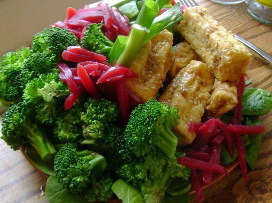 Salad With Broccoli, Snap Peas, Beats, And Golden Sesame Tofu