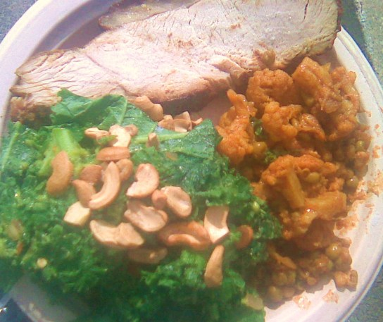 Honey Spiced Turkey, Avocado Massaged Kale With Roasted Cashews, Indian Cauliflower And Peas