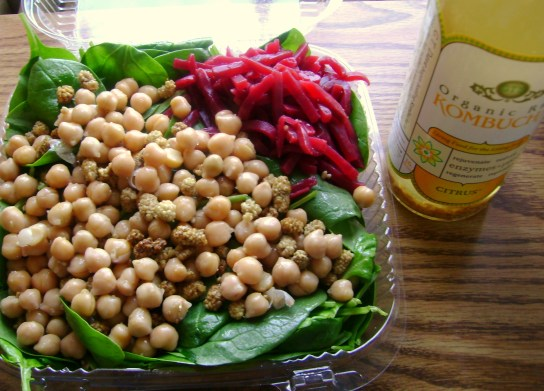 Spinach Salad With Hemp Oil, Chickpeas And Mulberries, Beets, Citrus Kombucha