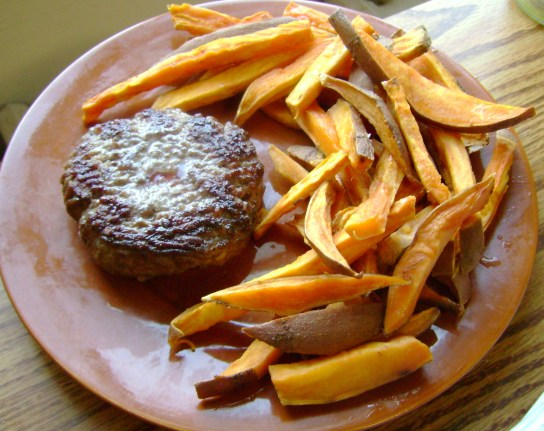 Grass-Fed Burger With Sweet Potato Fries