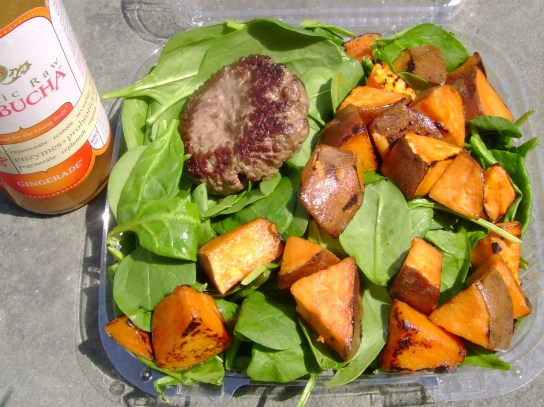 Grass-Fed Burger, Sweet Potato Hash With Olive Oil, Spinach
