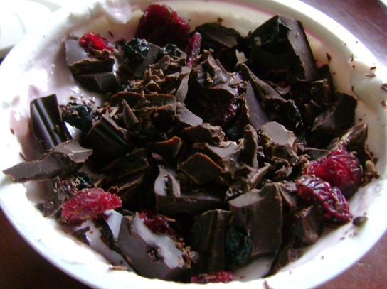 Pomegranate Chobani With Dried Cranberries, Blueberries, And Dark Chocolate