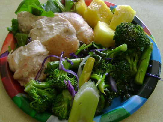 Stir-Fried Greens, Pineapple, Organic Chicken