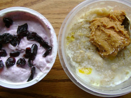 Cranberry Greek Yogurt With Craisins, Oatmeal With An Egg And PB