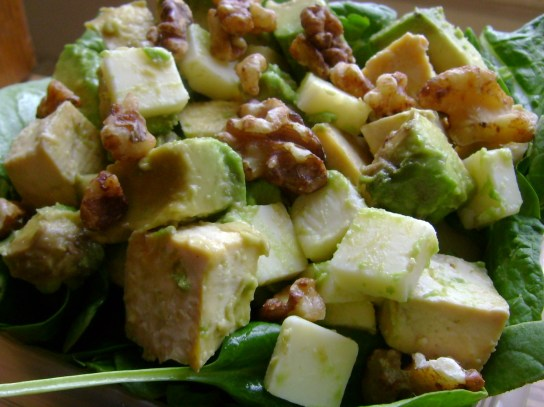 Maple Spinach Salad With Raw Cheddar, Avocado, Maple Tofu, And Maple Walnuts