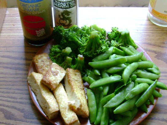 Sesame Tofu, Broccoli And Snap Peas With Soy Sauce And Sesame Oil