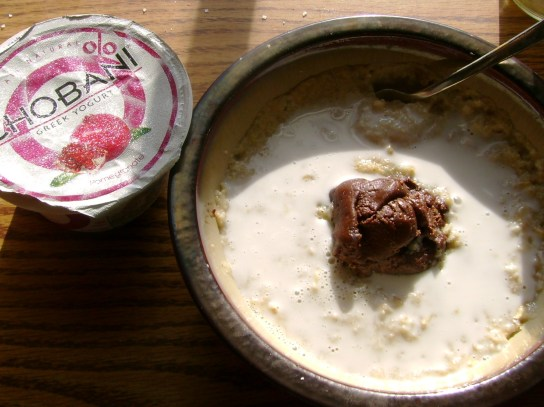 Pomegranate Chobani, Oatmeal With Chocolate Almond Butter And Coconut Milk