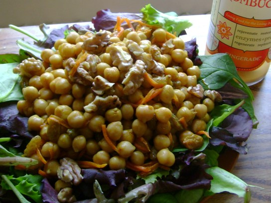 Tumeric Spiced Carrot Cake Chickpea Salad With Toasted Walnuts, Gingerade Kombucha