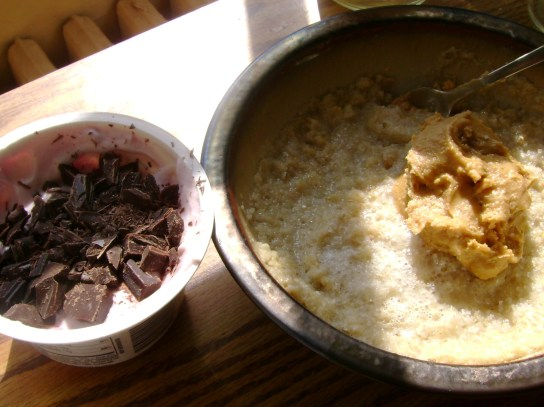 Pomegranate Chobani With Orange Dark Chocolate, Oatmeal With Vanilla Peanut Butter